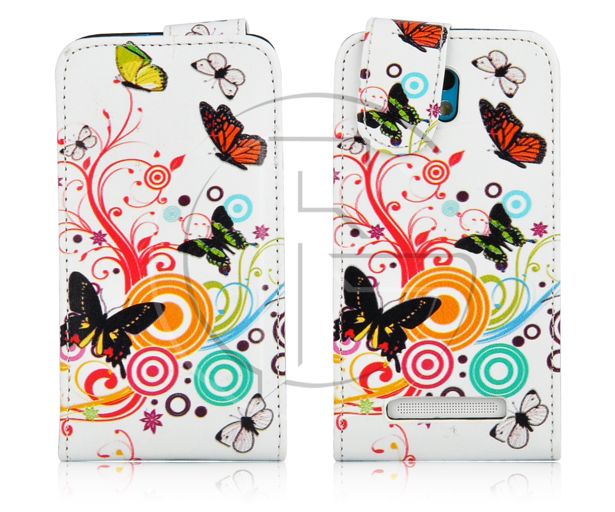 HTC DESIRE 500 MAGNETIC PU LEATHER FLIP WALLET CASE COVER & SCREEN PROTECTOR